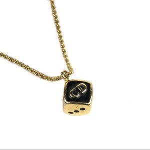 DIOR Gold Dice Necklace